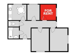 plan of apartment with bedroom for rent